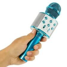 Microphone Bleu Mic à Main Sans Fil Bluetooth Haut-parleur Portable Karaoké KTV
