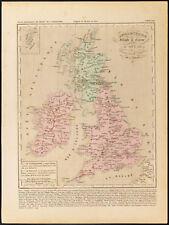 1859. Angleterre Irlande & Écosse. Carte géographique ancienne Houze. Gravure