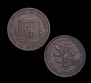 CANADA, Bank Token. Montreal, Halfpenny (Un Sou), Lot of 2