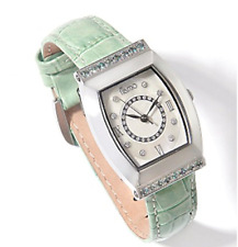 Tiamo Genuine Diamond & Alexandrite Stainless Steel Green Leather Watch Hsn $699