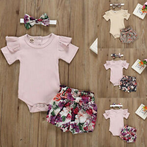 Newborn Kid Baby Girls Outfits Clothes Romper Bodysuit+Floral Print Shorts Set £