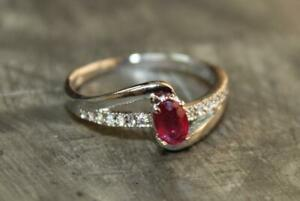 Silver Ruby Band 4x6 mm Oval ruby Anniversary Ring ruby Promise ring Birthstone