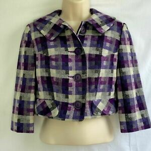 Vintage Womens Size XS 2 4 Cropped Blazer Purple Gray Black Wool Union Made