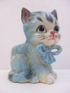 LEFTON CHINA FIGURINE - BLUE CAT KITTEN w/BOW PLANTER VASE - H2953 (CI1Q)