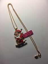 BETSEY JOHNSON  Crystal RED SKIING SANTA CLAUS Pendant Necklace -BJ6508