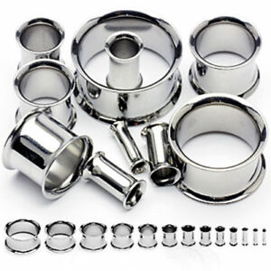 Flesh Tunnel Ear Plug Double Flared Silver Stainless Steel Metal Lobe Stretcher