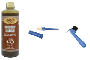 Equinade Horse Hoof Lube Oil Dressing Antiseptic 500Ml+Oil Brush+Hoof Pick