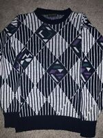 Vintage Bay Trading Sweater Large Abstract Knit Geometric USA Crazy Design Cosby