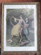 """Gravure """"scène galante"""", rehaussée à la main, signée, période XIXeme siècle."""