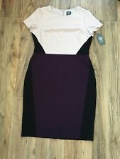 a2d7a1ab1585 BNWT Vince Camuto Bodycon Lined Dress Colour-block Pink/Plum/Black UK Size