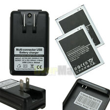Wall Charger + 2Pcs 3100mAh Battery For Samsung Galaxy Note 2 II N7100 I317