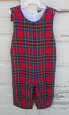 Kellys Kids Boys Red Blue Plaid Sleeveless Flannel Romper One Piece Size 2 2T