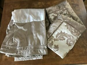 Queen Size Gold Bed Skirt with 2 Pillow Shams Embellished