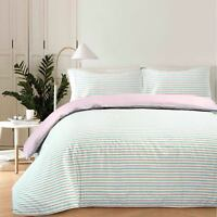 Luxury Chambray Woven Multi Striped Duvet Quilt Cover Bedding Set Pink & Blue