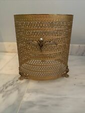 Hollywood Regency Stylebuilt Ormolu Gold Filigre Footed Trash Waste Basket Cover