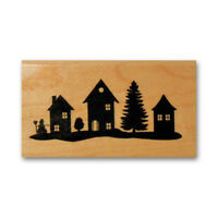 Houses Silhouette mounted rubber stamp Christmas village, winter holiday #24