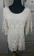 Jennie & Marlis Woman 1X Cream Lined Crochet Lace 3/4 Sleeve Blouse Top