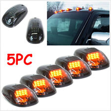 5× Smoked Lens SUV Truck Off Road Cab Roof Top Amber LED Marker Running Lights