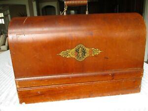 Antique 1920's Singer Sewing Machine Knee Bar Bentwood Case + key + Accessories