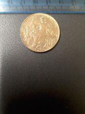 Monnaie Francia 10 céntimos 1916. una moneda de bronce francés 1916 diez céntimos.