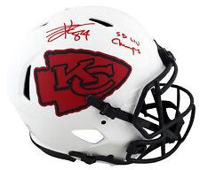 Chiefs Travis Kelce SB LIV Champs Signed Lunar F/S Speed Proline Helmet BAS Wit