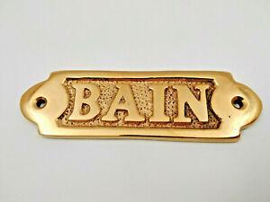 Plaque de porte laiton massif Bain neuve longueur 11cm pour la maison,bateau...