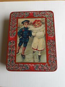 Vintage storage tin  christmas xmas biscuit retro old
