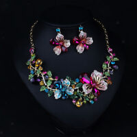 Women Gold Plated Crystal Colorful Flower Wedding Party Necklace Jewelry Set