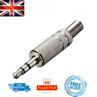 3.5mm 3 Pole Audio Jack TRS Male Metallic Silver Connector Plug Stereo Headphone
