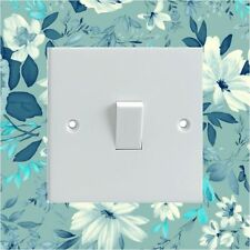 Blue Flowers Pattern Electrical Light Switch Surround Printed Vinyl Sticker