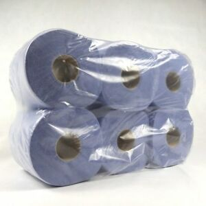 6 PACK 2 PLY BLUE EMBOSSED CENTRE FEED PAPER WIPE ROLLS INC VAT