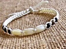 BRACELET CREME CORD SHELL WOOD BEADS ADJUST ANKLET WRISTBAND BEACH mens womens