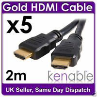 5 x 2m HDMI Gold Plated for Sky HD PS3 to TV Cable Lead