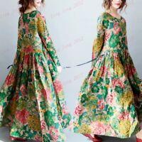 Elegent Long Swing Maxi Womens Boho Cotton Linen Dress Floral Caftan Loose