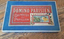 Ancien jouet jeu Domino parisien grenouille cochon coq cygne papillon M.L 1920