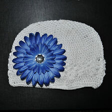 Cappello a maglia bianco + fiore blu berretto bimbo cotone FERMACAPELLI gr.l 2-5
