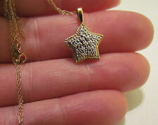 10kt.Two Tone Gold .10Ctw Diamond Star Pendant & 18 in. Necklace- 1.8 Gm.