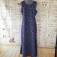 Vintage Cassino Sun Dress Maxi Womens M Medium Sleeveless Purple Gray Floral