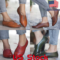 Women's Fashion Leather Oxfords Flat Shoes Girls Casual Pointed Toe Lace Up Shoe