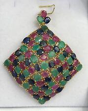 14k Solid Yellow Gold Big Diamond Shape Pendant, Mix Ruby Sapphire Emerald 43TCW