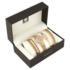 Annie Klein Diamond-Accent Gold-Tone Tan Leather Watch and Bangle Set 2684DTST