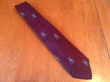 "vtg Robert Talbott euc 100% Silk Geometric Crest Tie Hand Sewn burgundy 57"" 3"""