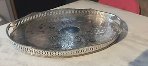 An Antique Silver Plated Wave Effect Gallery Tray With Engraved Patterns.1920.s.