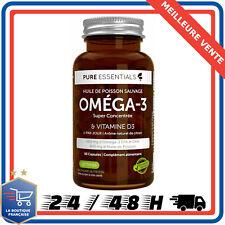 Pure Essentials Oméga-3 EPA & DHA Vitamine C D 60 Capsules Cardiaque Cérébrale