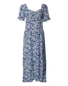 BNWT WAREHOUSE blue haze ditsy floral print sweetheart midi dress size 10 RRP£49