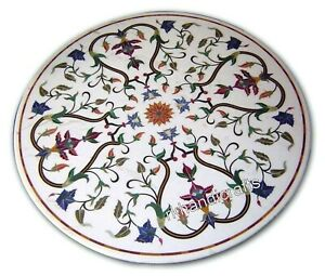 Multi Color Gemstones Inlaid Patio Table Marble Center table Size 24 x 24 Inches