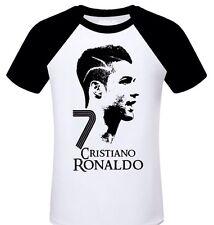 Cristiano Ronaldo  White Raglan T Shirt With Black Sleeve Medium  (Aus Seller)