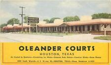 HOUSTON TX Oleander Courts Hi-way 90 Roadside Motel Vintage Postcard ca 1930s
