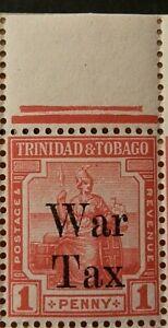 TRINIDAD AND TOBAGO 1918 SG188 KGV 1d. SCARLET OVPT. WAR TAX  -  MNH