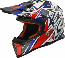 Casco moto integrale LS2 MX-437 FAST STRONG lega KPA cross enduro blu Rosso -> L